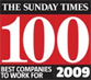 We came #18 in Sunday Times Best Companies to work for 2009