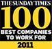 We came #66 in Sunday Times Best Companies to work for 2011