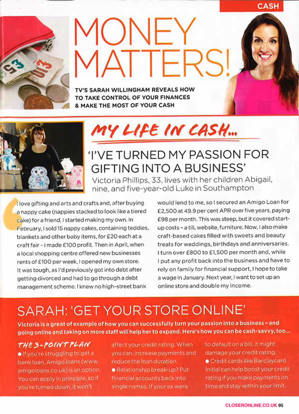 Closer Magazine - Amigo customer Victoria, whose gift business is thriving thanks to her Amigo loan