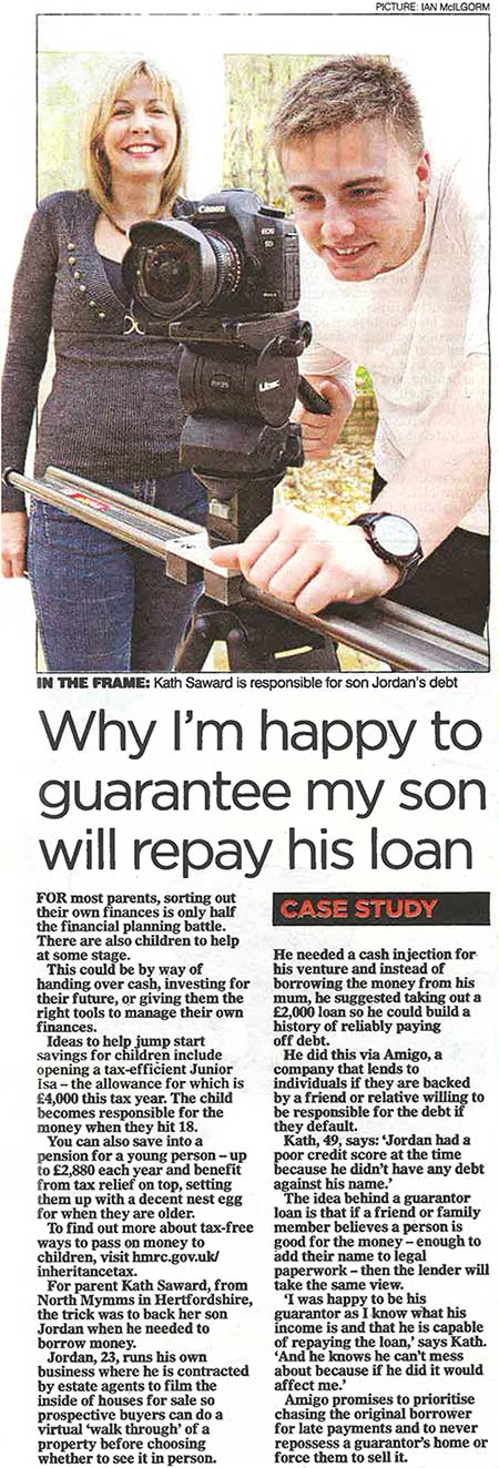 The Mail on Sunday looks at how parents can help their children with business and personal loans
