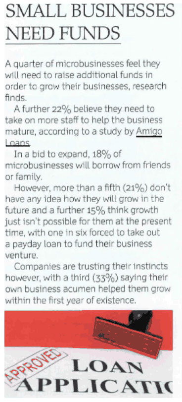 Small Businesses Need Funds